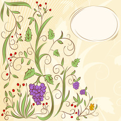 Floral grape abstract background