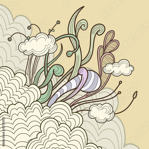 Abstract clouds with floral design elements