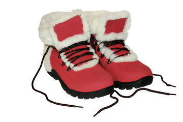 Red winter boots.