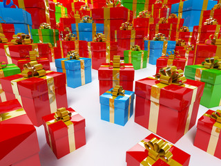 Color gift boxes 3d illustration