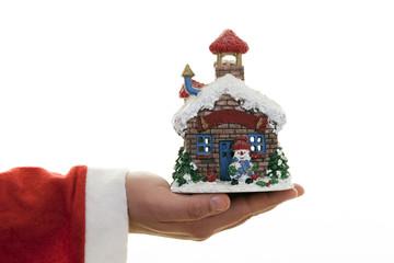 Christmas House And Snowman