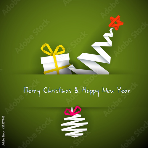 Simple vector red christmas card with gift, tree and bauble