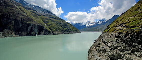 Grande Dixence dam view on Lac des Dix, Switzerland