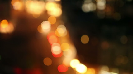 Defocused city lights at night