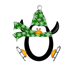 Cute Penguin on Ice Skates Jumping Illustration