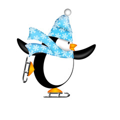 Cute Penguin on Ice Skates Illustration