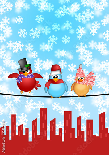 Poster Vogels, bijen Three Birds on a Wire with City Skyline Christmas Scene