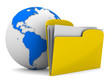 Yellow computer folder and globe on white background. Isolated 3