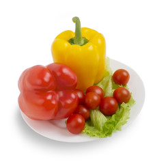 vegetarian health food, Fresh vegetables on white plate