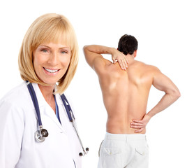 Young man with a back pain.