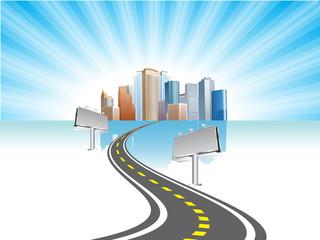 road & city