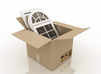 plastic windows in cardboard box  on a white background