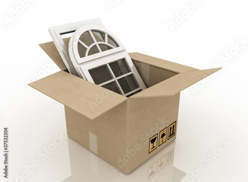 plastic windows in cardboard box  on a white background