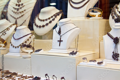counter with jewelry