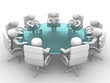3D men sitting at a round table and having business meeting.