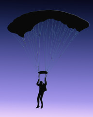 Blue Back Sky Diver with parachute