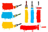 Fototapety Set of colorful paint roller brushes. vector illustration.