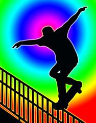 Color Circle Back Skateboarding Nosegrind Rail Slide