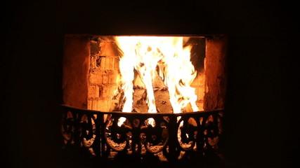 Burning fireplace