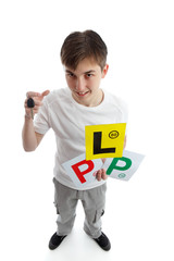 Teenager with learner driver licence plates
