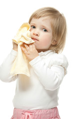 The baby girl with towel