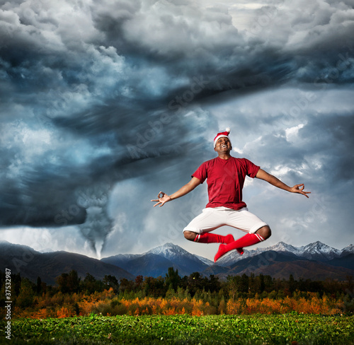Flying yoga against Hurricane