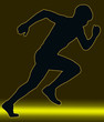 Green Gold Glow Sport Silhouette - Male Sprint Athlete