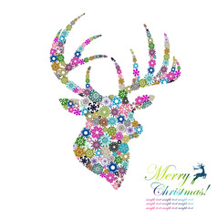 Christmas background reindeer design by snowflakes