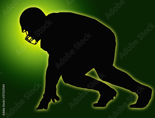 Green Glow Silhouette American Football Player Scrimmage