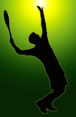 Green Glow Sport Silhouette - Tennis Player Serving