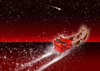 roter Hintergrund, Sternenhimmel, Weihnachtsschlitten, Rentiere