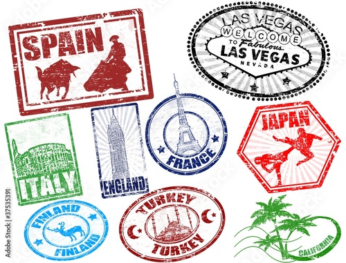 Set of stylized grunge travel stamps, vector illustration