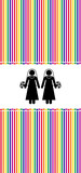 lesbian marriage in a rainbow background