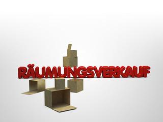 Räumungsverkauf Lagerverkauf Restposten 3D Schriftzug