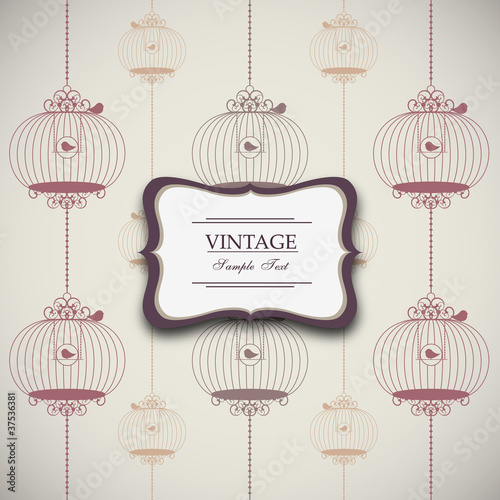 vintage design with birdcages - eps10