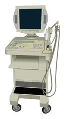 Vector ultrasonic device. Vector ultrasound on white.