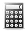 Black calculator with gray buttons