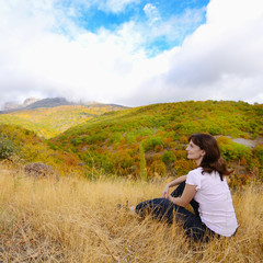Resting hiker