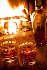 still life con bottiglia e bicchieri di Brandy