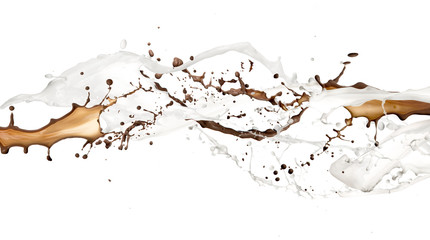 Chocolate and milk splash, isolated on white background