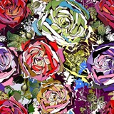 Fototapety Beautiful seamless background with abstract colored roses