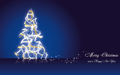 Christmas greetings card with fir tree made from ribbons