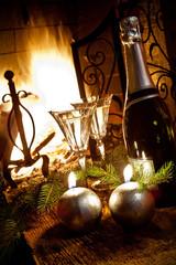 focolare con champagne