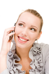 smiling beauty woman calling by mobile phone isolated