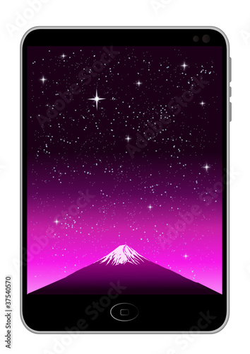 Mobile Phone with FUJI Mt. Background, vector image.