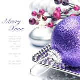 Fototapety Purple Christmas ball on festive background