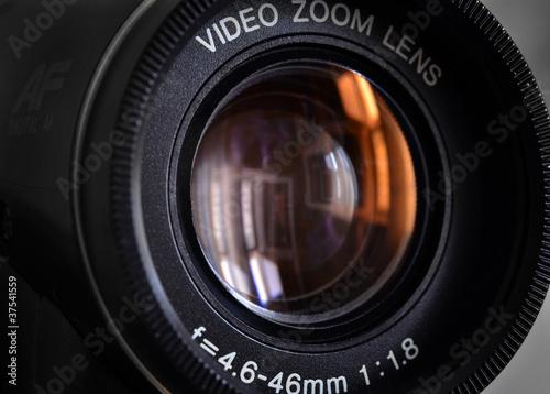 Obiektyw kamery wideo z bliska