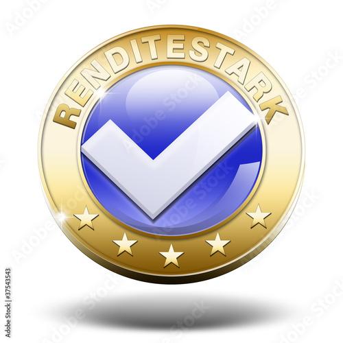 renditestark rendite vermögen geldanlage button gold 3d