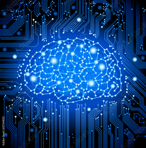 circuit  board brain background
