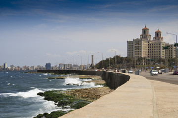 Famous Malecon drive with Hotel Nacional